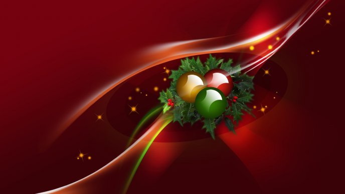 Christmas accessories on a red background