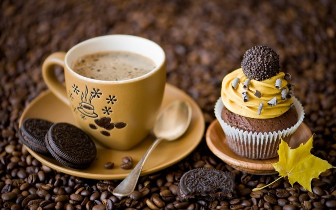 Delicious coffee and sweet cake with Oreo Biscuits