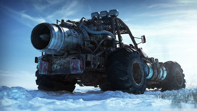 Big monster car on the snow - HD winter wallpaper