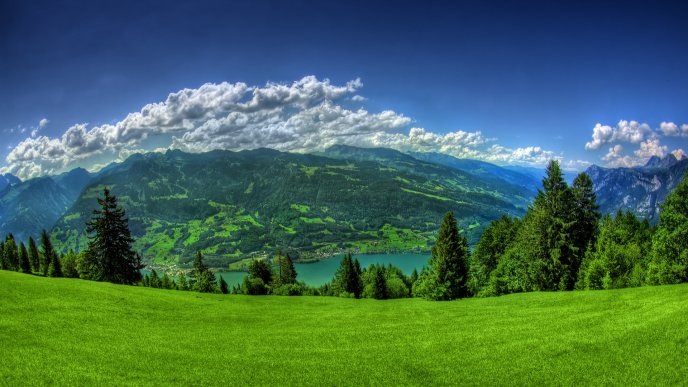 Beautiful green nature landscape - mountains and lake