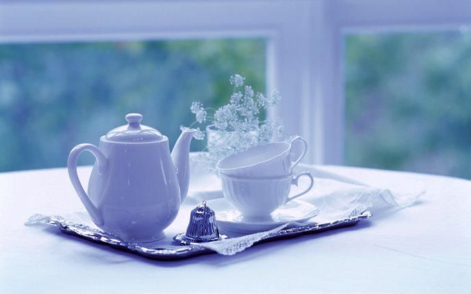 White morning with tea and flowers - HD wallpaper