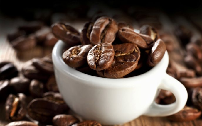 Download Wallpaper Cup full with coffee beans - Good morning