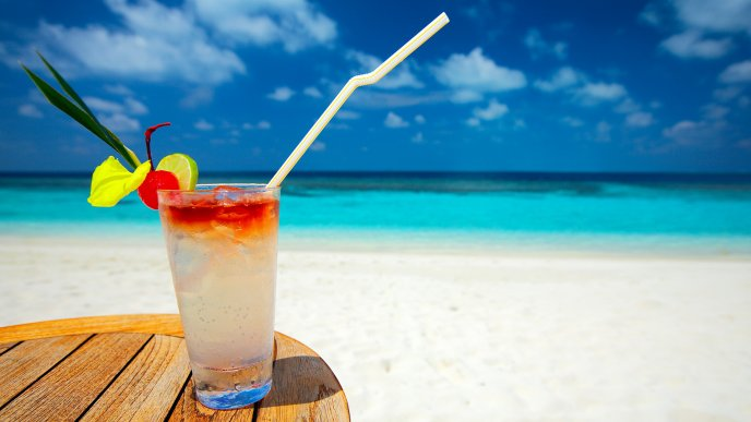 Summer fresh and cold cocktail - Happy holiday at the beach