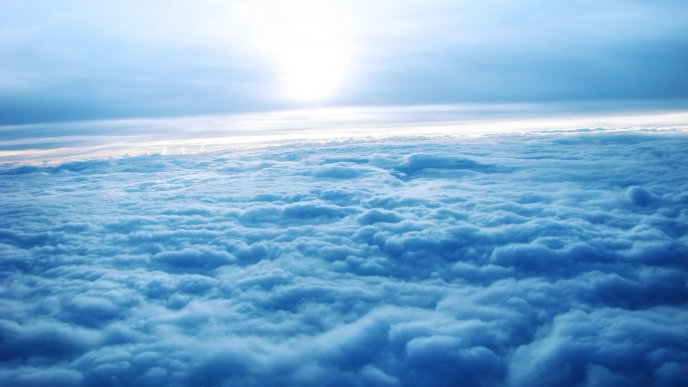 Wonderful fluffy blanket made of clouds - Blue sky