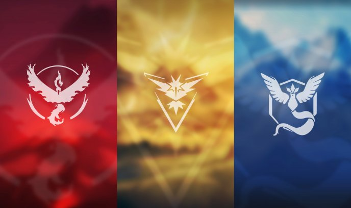 Three Colored Team In The Pokemon GO Game