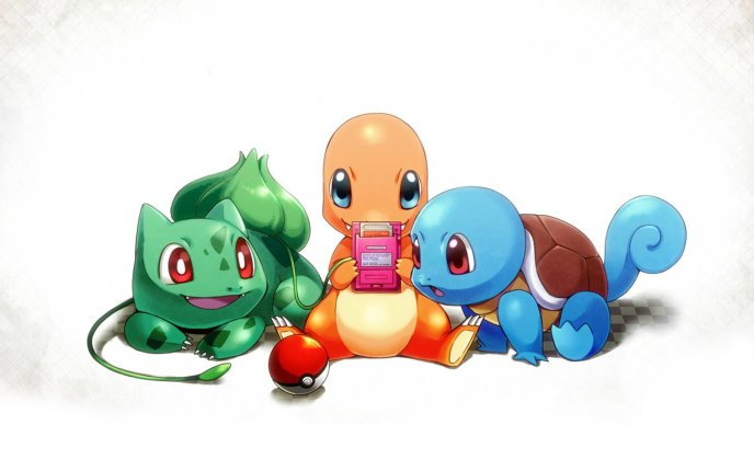 Three funny pokemons playing the Pokemon Go game