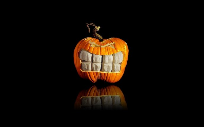 3D teeth in the Halloween pumpkin - HD wallpaper