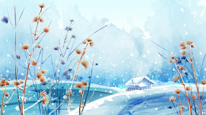 Winter landscape - small house and white nature