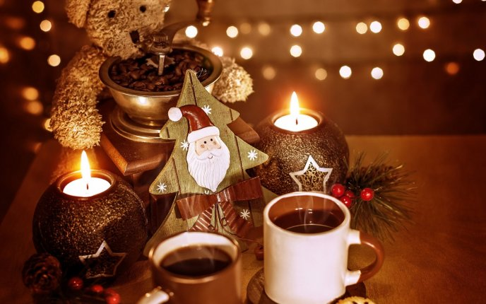 Hot tea and candles for Santa Claus - Happy Christmas