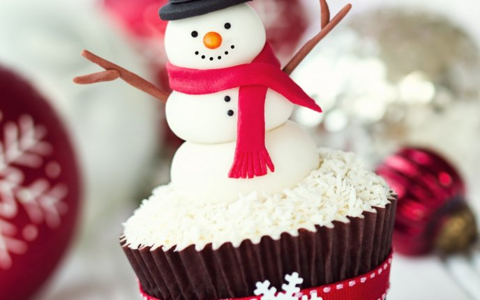 Snowman on a sweet muffin - Happy Christmas Holiday