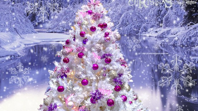 9220 White Christmas tree and pink ornaments Happy Holiday