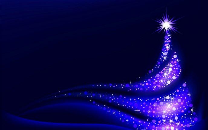 Download Wallpaper Blue Light On An Artistic Christmas Tree