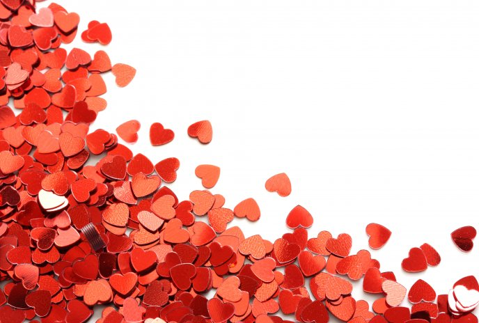 Download Wallpaper Millions Red Hearts On A White Table