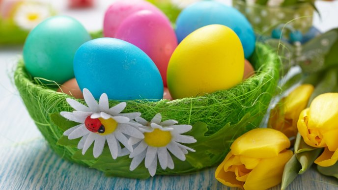 Download Wallpaper Green basket with colorful Easter eggs and a little ladybug
