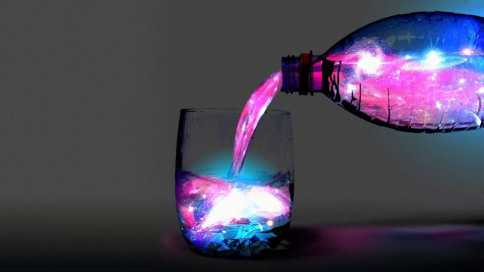Magic water from the bottle - Purple color