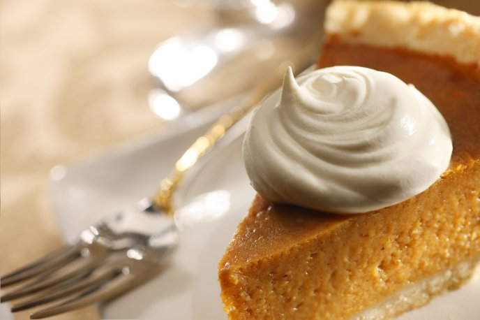 Macro food wallpaper - Slice of pumpkin pie