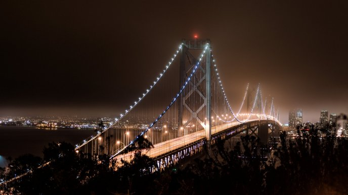 Download Wallpaper Lights on a wonderful bridge in San Francisco - HD wallpaper