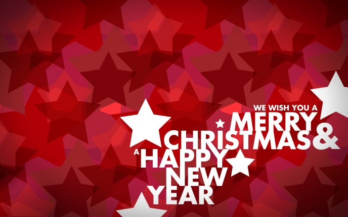 Merry Christmas and Happy New Year - Red stars on background