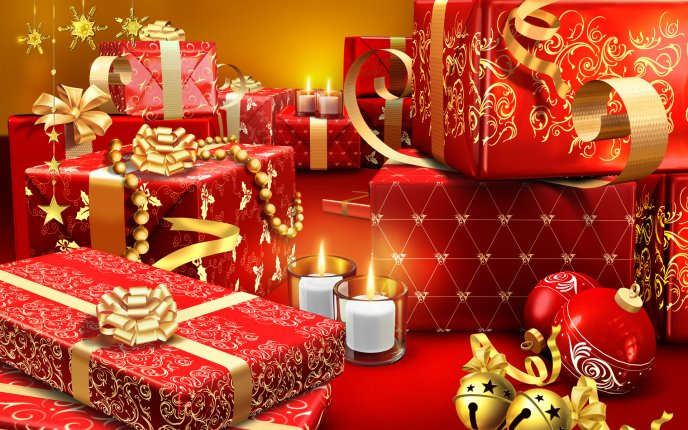 Lots of Christmas gifts - Red and golden ribbons