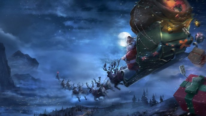 Santa Claus with Rudolf and deers flying - Merry Christmas