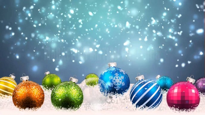 Download Wallpaper Colorful Christmas Balls In The Snow HD