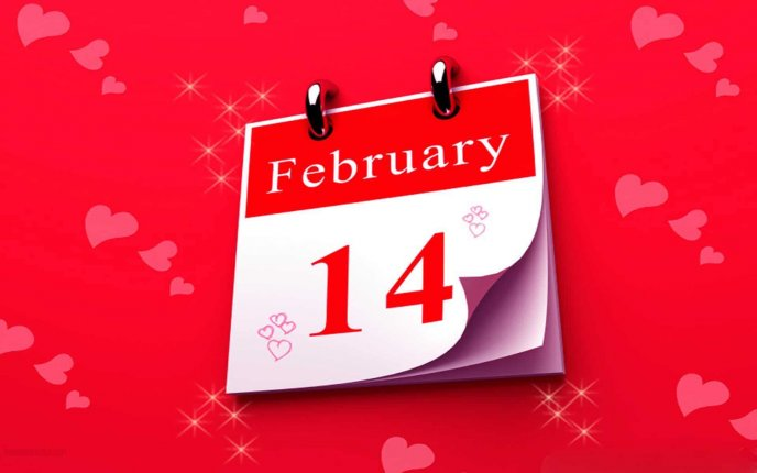 Valentines Day is in the calendar on 14th February