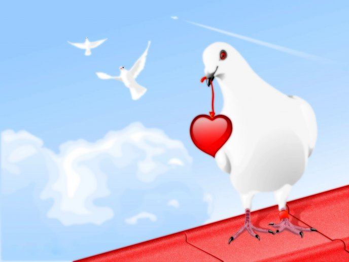 White dove with a red heart - Happy Valentines Day
