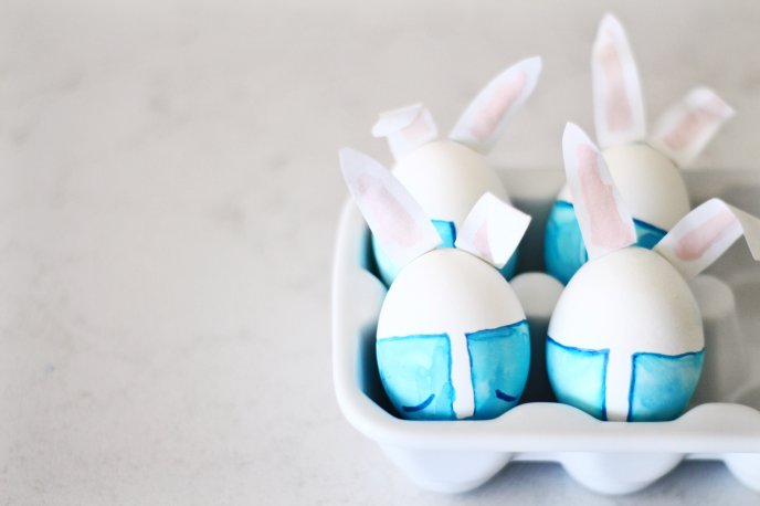 Blue rabbits made from eggs - Happy Easter Holiday