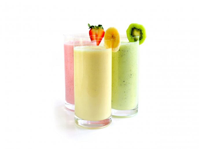 Three glasses with delicious smoothie-Banana kiwi strawberry
