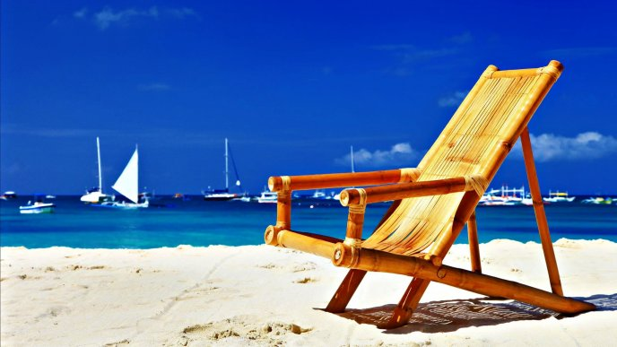 Summer beach chair on the white sand - Relaxing time