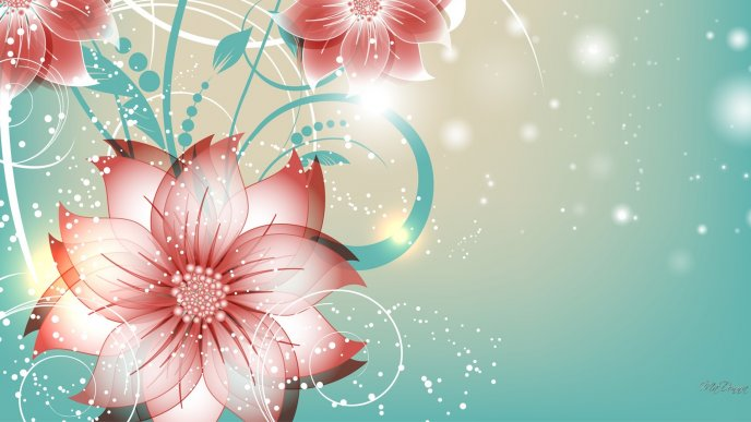 Abstract pink flowers on computer design - HD wallpaper