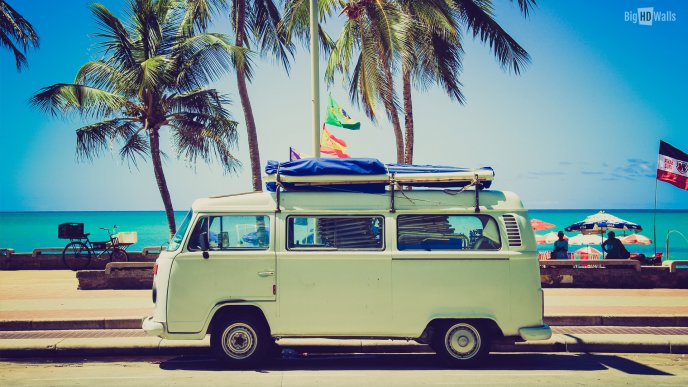 Holiday at the beach with old car - HD summer wallpaper
