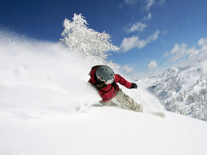 Wonderful winter sport on the mountain - Snow time nature