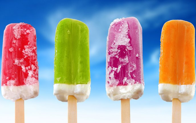 Delicious fruit ice-creams in a hot summer day