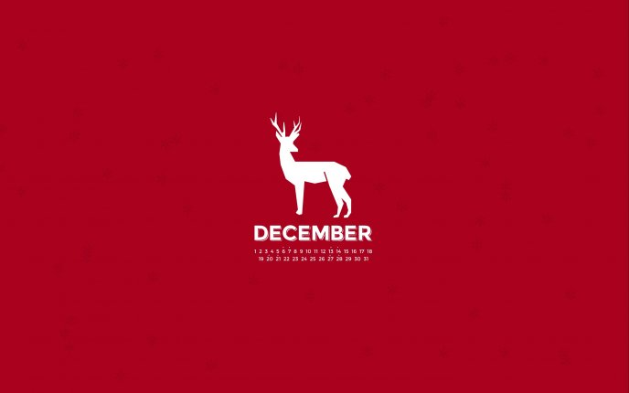 White reindeer on a red background - Christmas time December