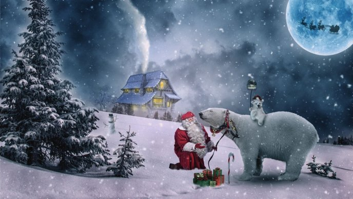 Santa Claus and Coca Cola polar bear - Christmas Holiday