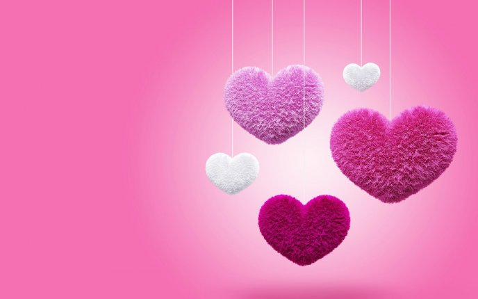 Fluffy hearts down from the pink sky - Love wallpapers