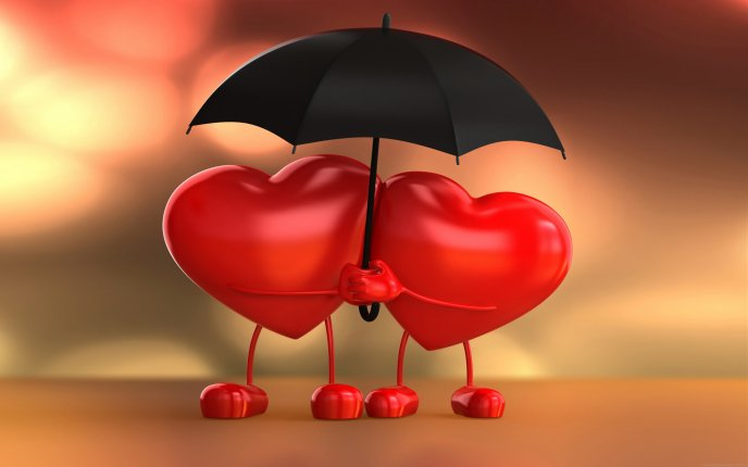 True love -Two hearts under an umbrella Happy Valentines day