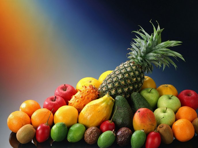 Pineapple is on top of the fruits - Delicious vitamin table