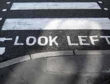 Look left pedestrian crossing