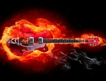 Electric guitar in fire