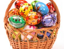 Easter painted eggs basket