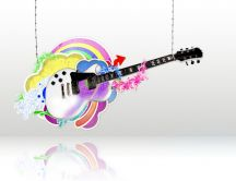 Colored guitar, rainbow