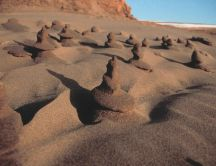 Interesting shapes formed in the sandy beaches and dunes