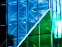 Abstract - modern architecture, green windows