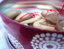 Double heart and red ribbon cookies