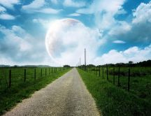 Country road leading to moon