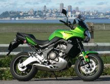 Green bike Kawasaki Versys HD wallpaper