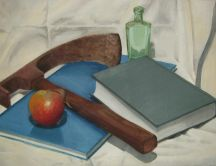 Abstract drawing - apple, book, glass, tool