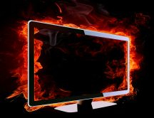 Monitor in flames HD wallpaper